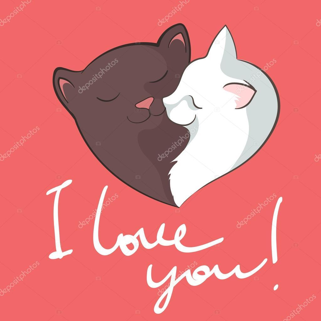 Corazón Amor De Gatos Archivo Imágenes Vectoriales Gingerkatya