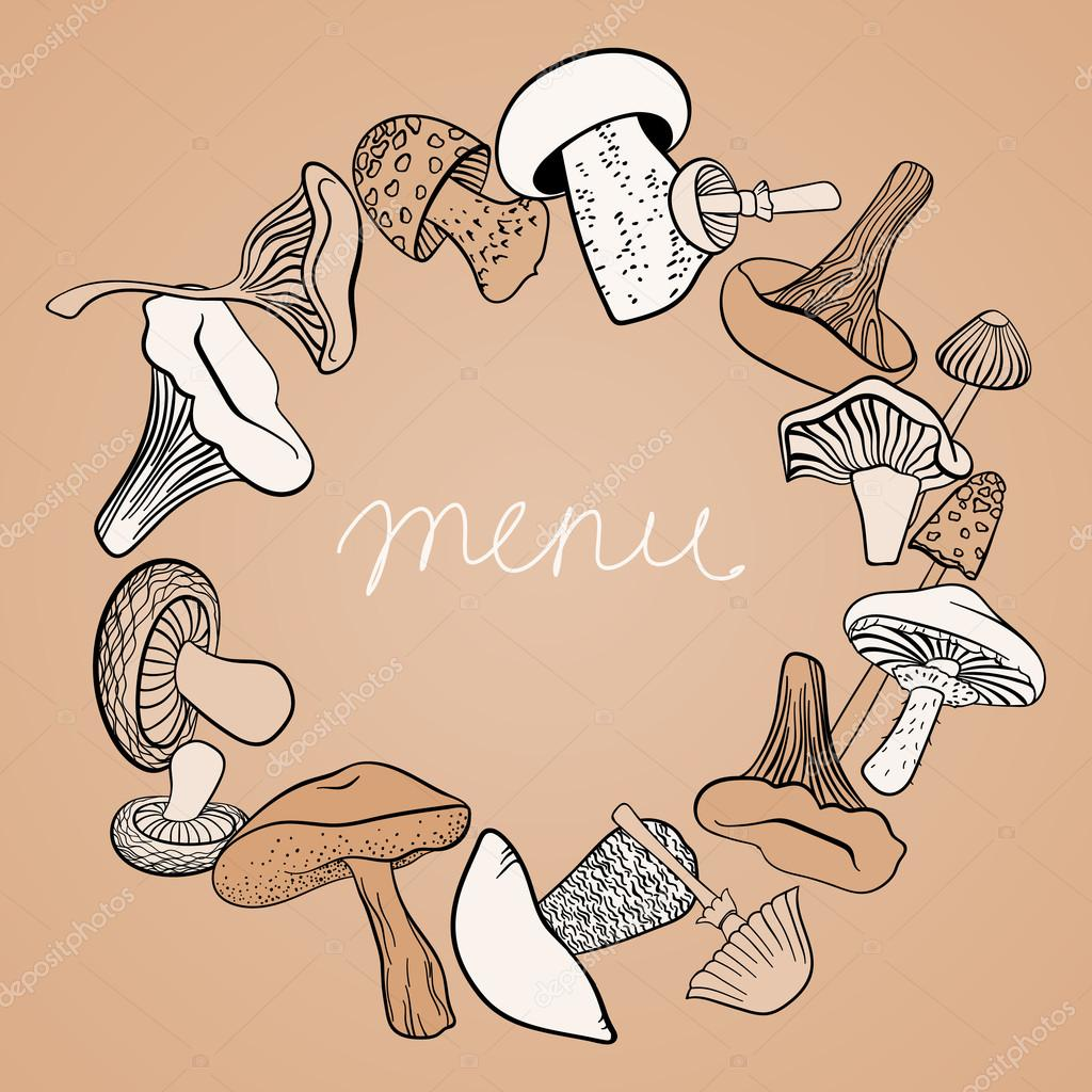Frame of different hand drawn mushrooms in pastel brown tones. Can be used us restaurant menu design.