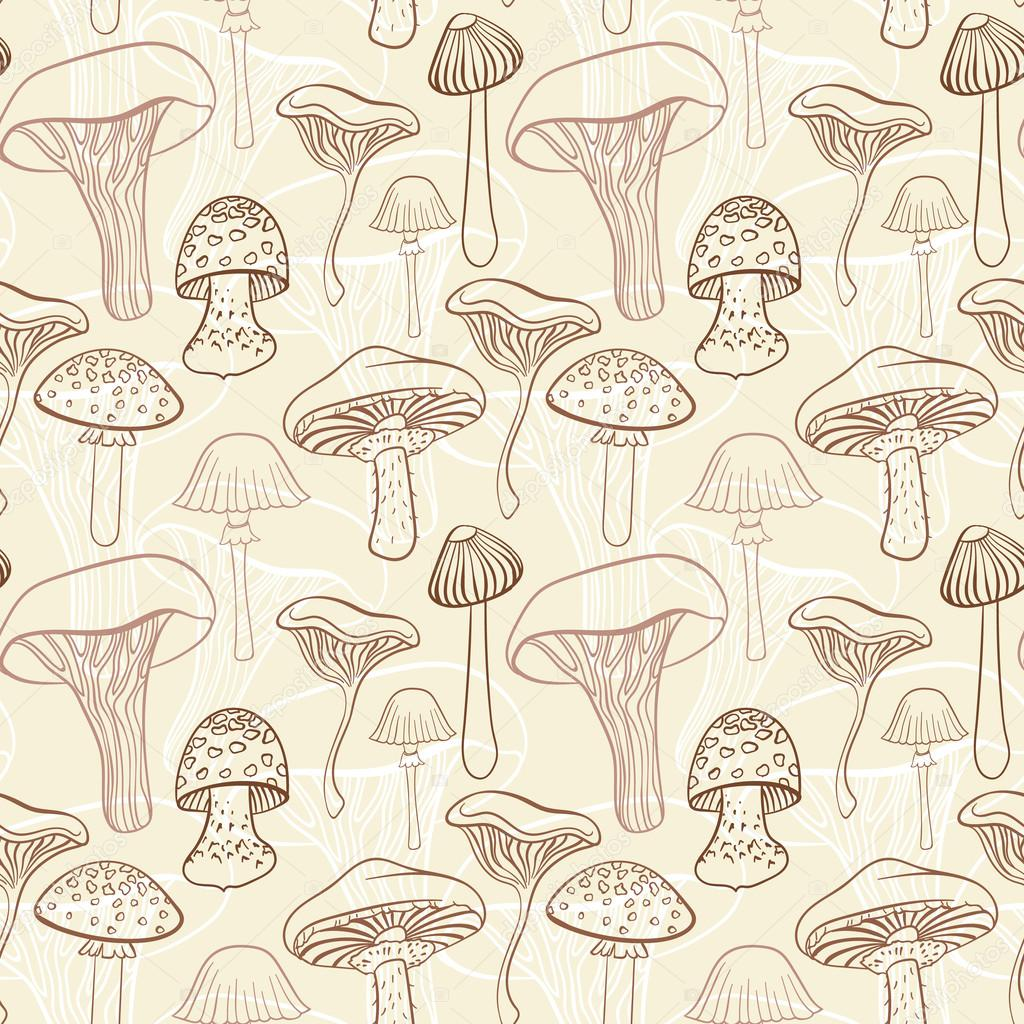 Seamless pattern with different hand drawn mushrooms in pastel brown tones.