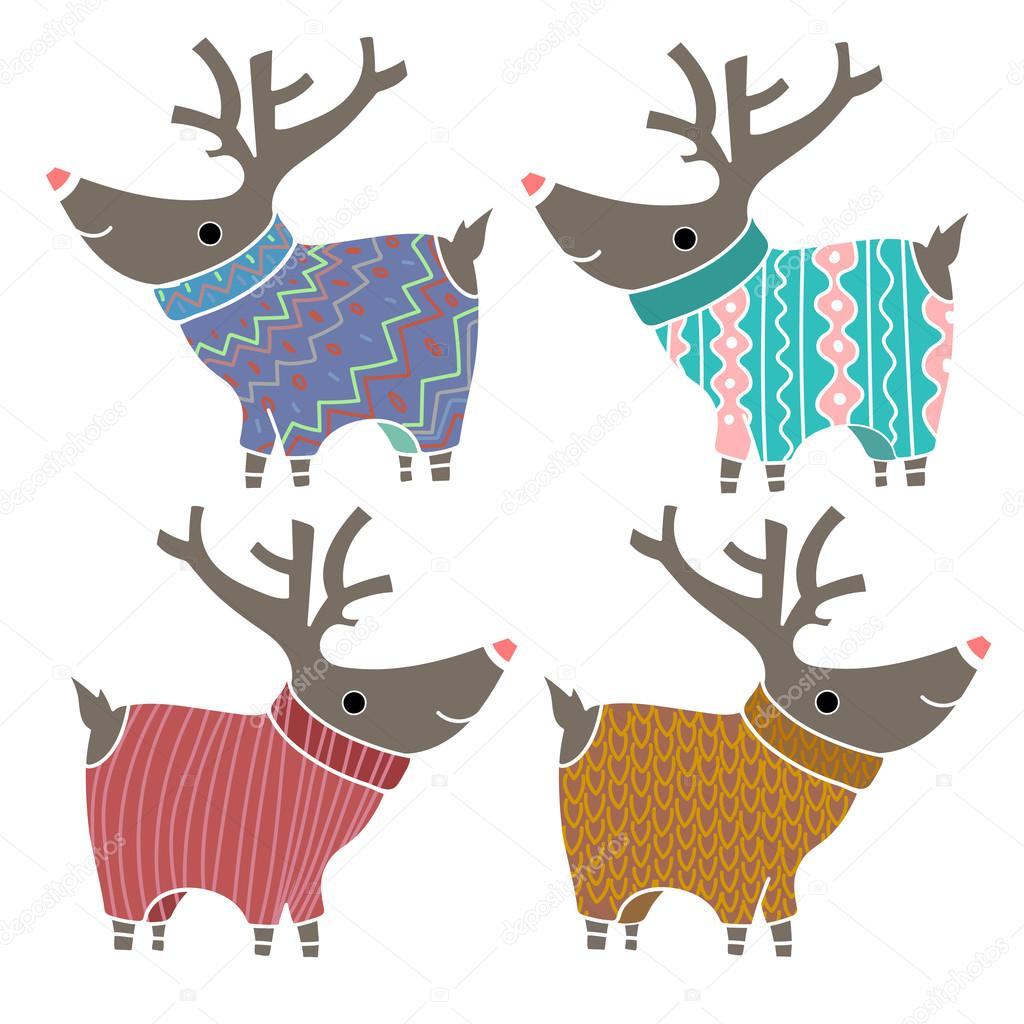 Set of four cute reindeers in amusing knitted sweaters. Design element for Christmas and New Year Cards and Banners