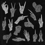 Vector  chalkboard illustrations set of universal gestures of hands. Hands in different interpretations. White chalk hatching on a black chalkboard. Стоковая Иллюстрация