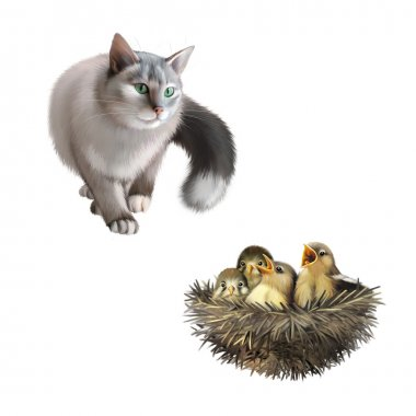 Gray cat with baby sparrows