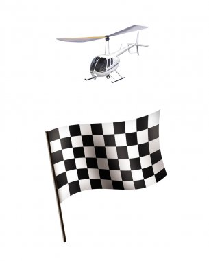 Illustration of Racing flag and helicopter isolated on white background stock vector