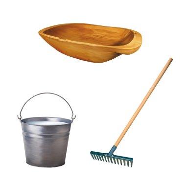 old wooden trough, Metallic bucket with milk, Garden rake isolated on white