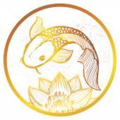 Photo Ink hand drawn golden koi fish illustration