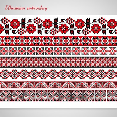 Set of seamless ornamented borders based on ukrainian embroidery
