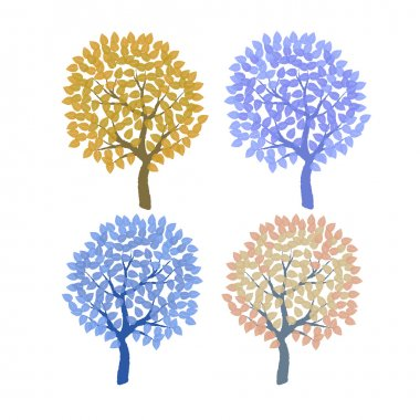 Set of the decorative colorful trees