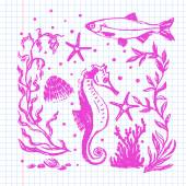Accumulazione di vita di mare. Illustrazione disegnata a mano originale