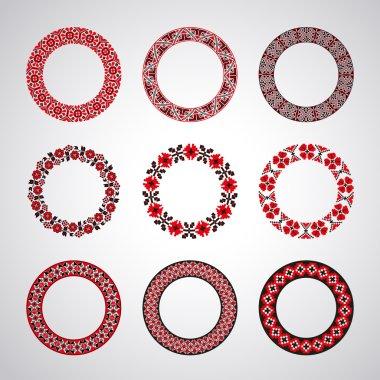 Ukrainian embroidered round motifs