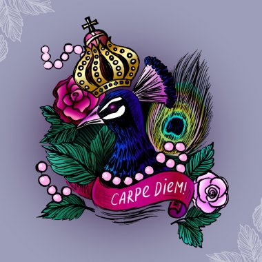 Illustration with crowned peacock in pearls on roses background