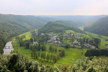 Panoramic view on beautiful village Frahan in Belgian Ardennes
