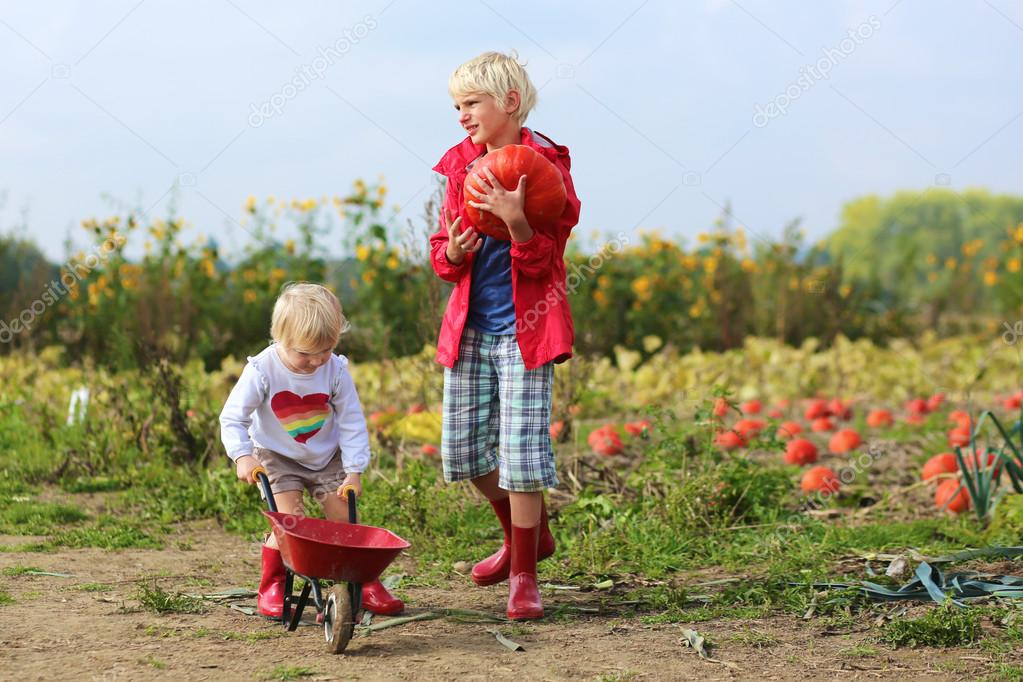 Brother and sister working in vegetables farm