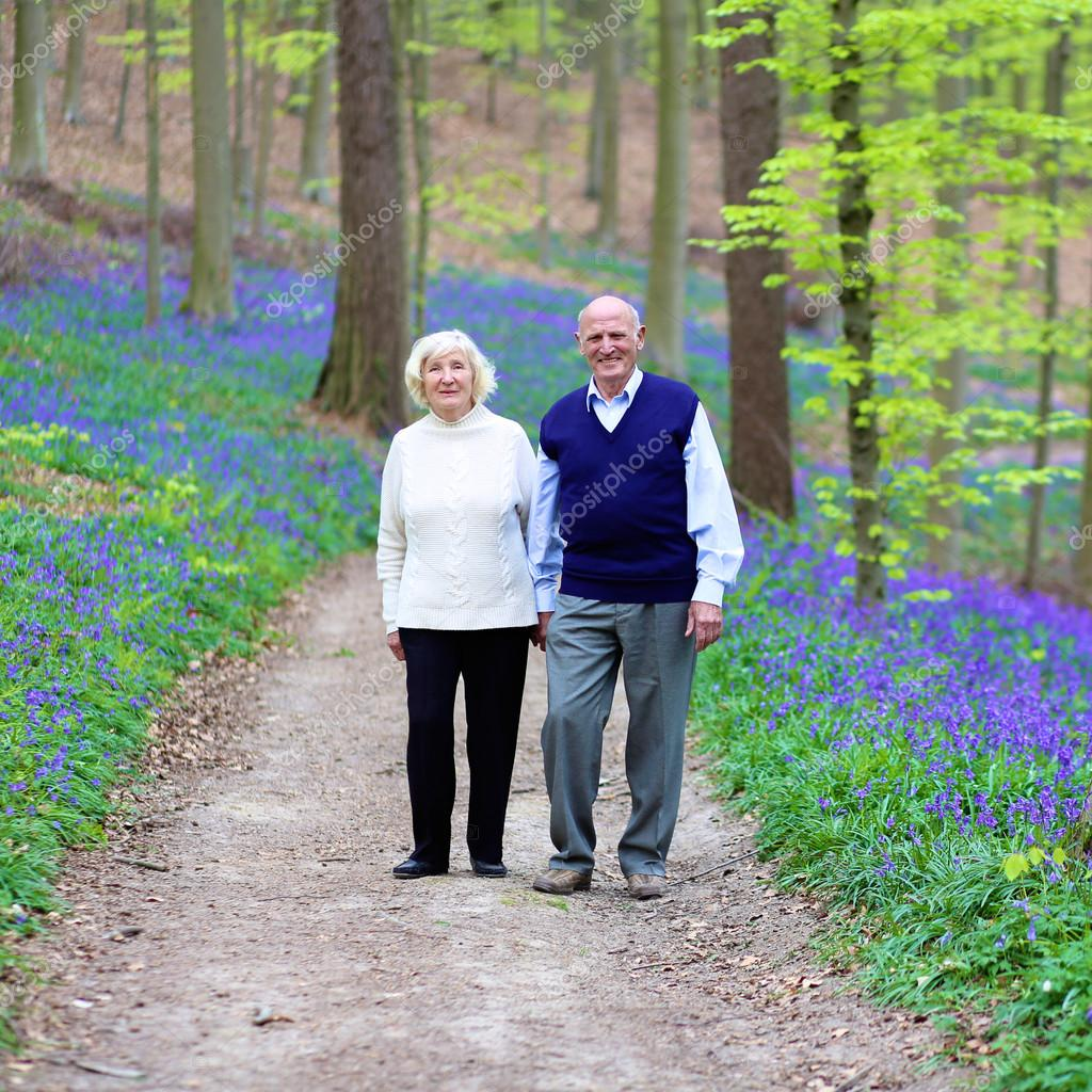 Loving senior couple walking in beautiful forest
