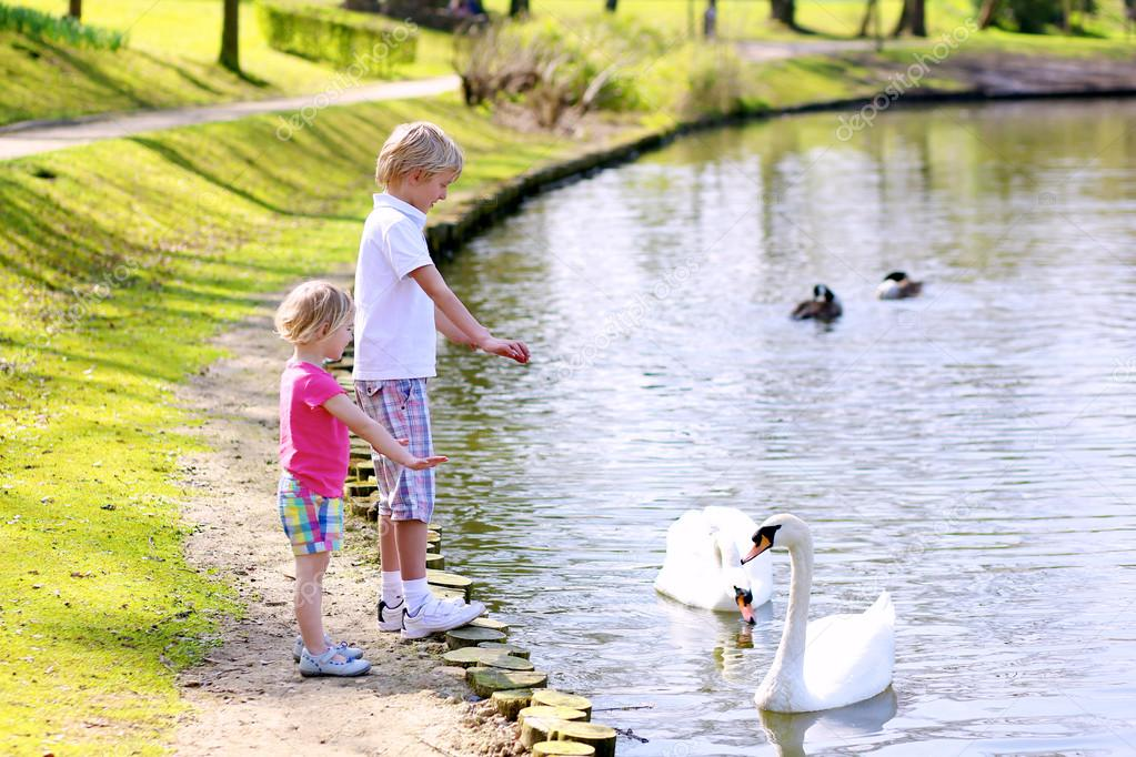 Brother and sister feeding birds in the pond