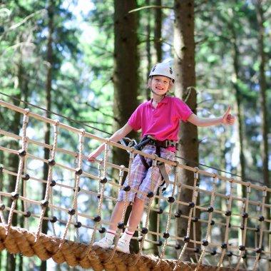 Active school boy climbing in adventure park