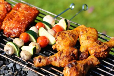 Delicious griller meat with vegetables