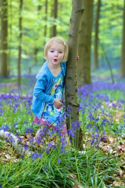 Adorable funny child, blonde healthy toddler girl enjoying nature, playing, hiking and hiding behind the trees in spring or summer forest with bluebells flowers stock vector