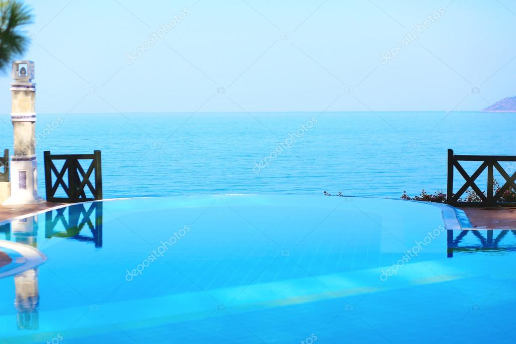 Infinity pool in luxury hotel