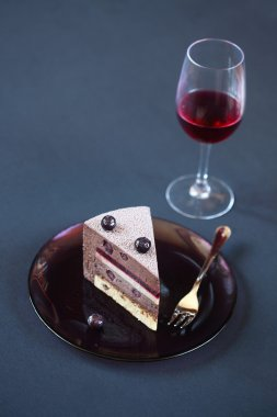 Piece of Blueberry Chocolate Layered Mousse Cake