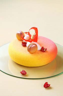 Contemporary  Mousse Cake, covered with colored velvet spray