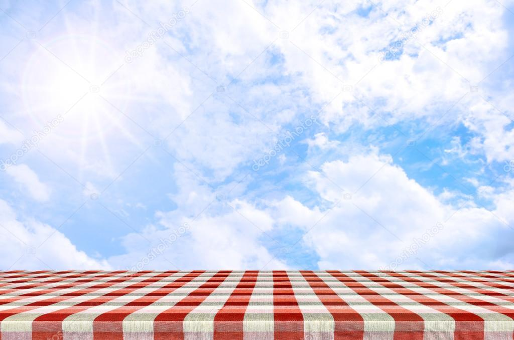 Outdoor picnic background in summer sun light Stock Photo