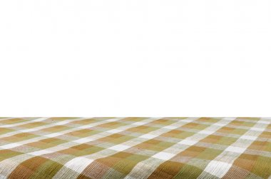Picnic table with tablecloth isolated with clipping path.