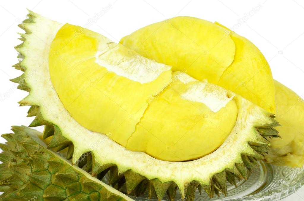 Durian (Durio zibethinus Murray) King of Fruits on White Backgro