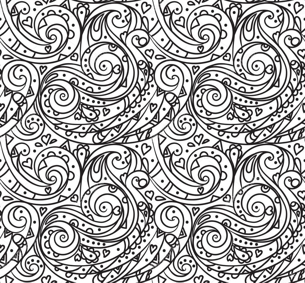 Sea seamless pattern, black and white wave . Adult Coloring pages