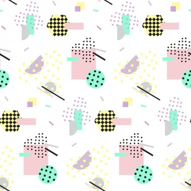 Vector illustration of Seamless geometric vintage pattern in retro 80s style, memphis. Ideal for fabric design, paper print and website backdrop. clip art vector