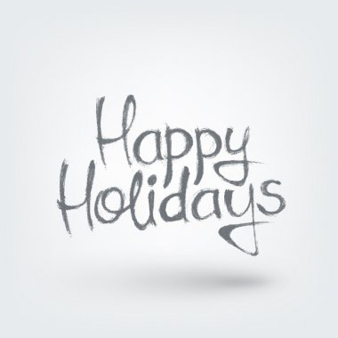 Happy holidays text design. Hand drawn words on white background clip art vector