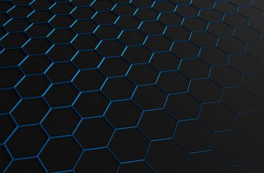 Abstract 3d rendering of futuristic surface with blue hexagons.