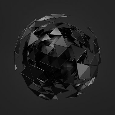 Abstract 3d rendering of low poly black sphere with chaotic structure.