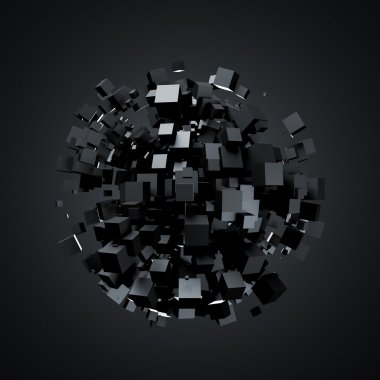 Abstract 3d rendering of black cubes.