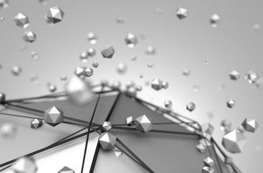 Abstract 3D Rendering of Low Poly Metal Sphere.