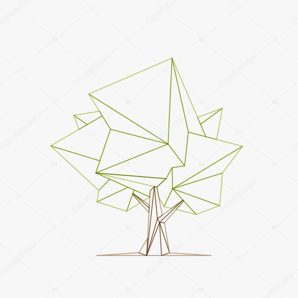 Conceptual Polygonal Tree. Vector Illustration.