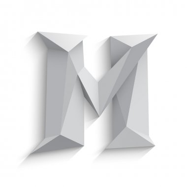 Vector illustration of 3d letter M on white background.