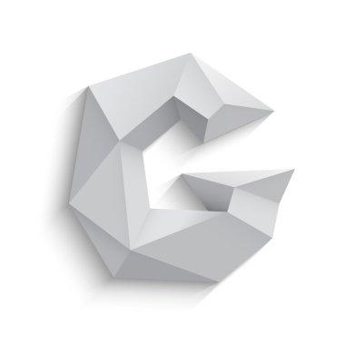 Vector illustration of 3d letter G on white background.