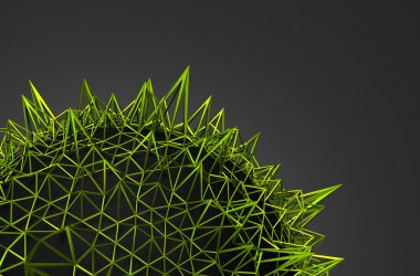 Abstract 3D Rendering of Green Chaotic Structure.