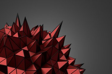 Abstract 3D Rendering of Red Chaotic Surface.