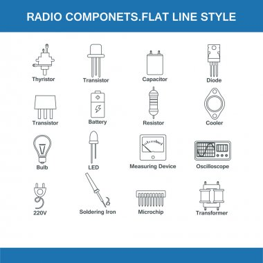 radio components flat line style