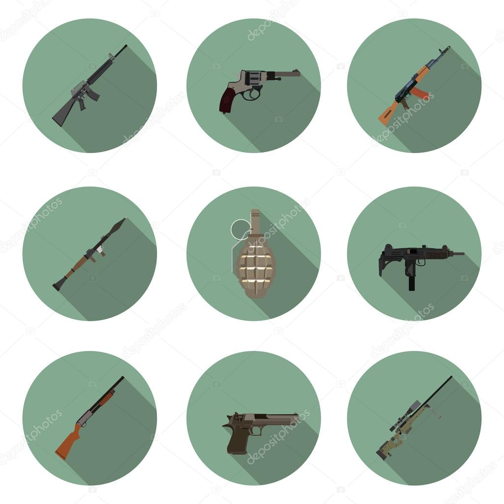 Flat icons set weapons in vector format eps10 stock vector