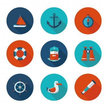 flat icons yacht club