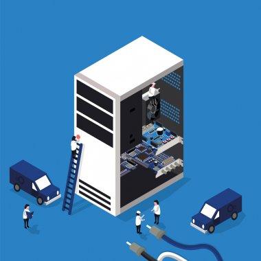 computer repair service flat 3D isometric