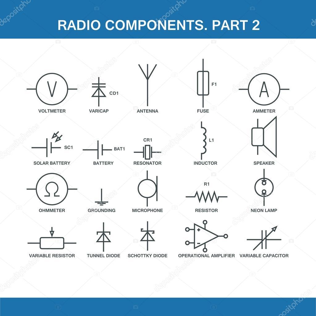 Bezeichnung der Komponenten in der Schaltplan — Stockvektor ...