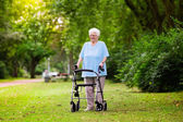Photo Senior lady with a walker