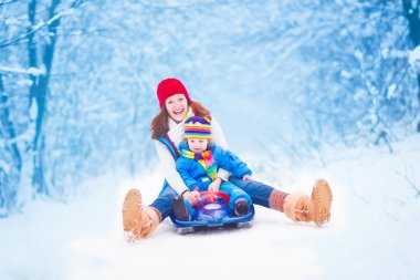 Young happy mother and her little toddler daughter enjoying a sledge ride in a beautiful snowy winter park stock vector