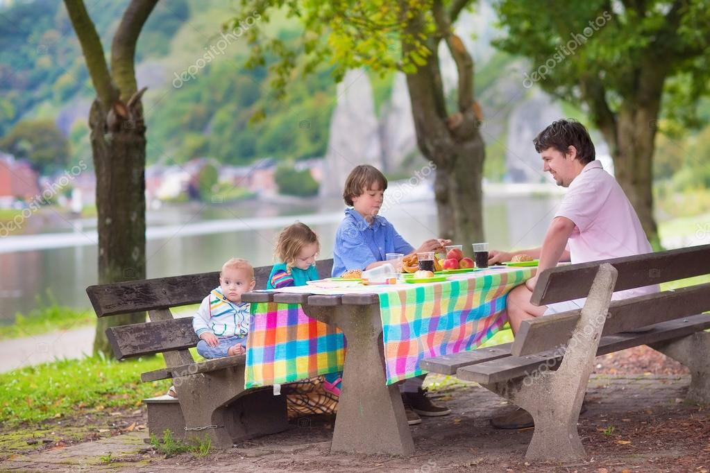 Father and kids at picnic