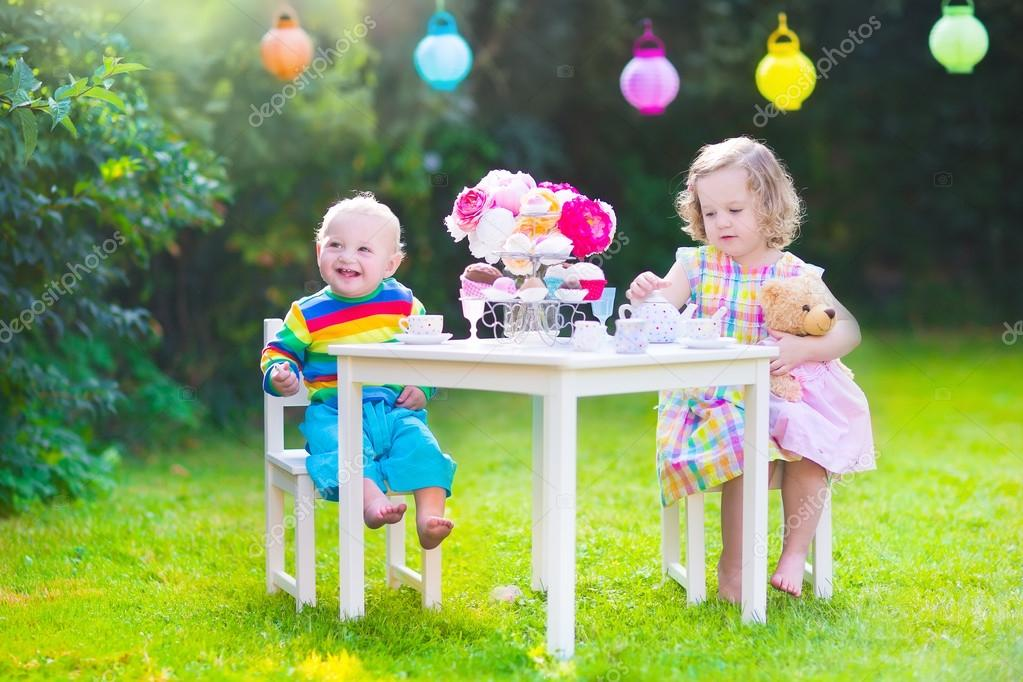 Children at doll tea party