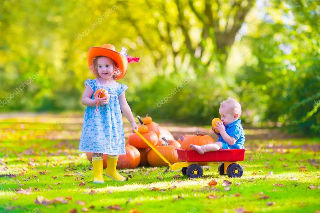 Kids at pumpkin patch