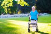 Photo Senior handicapped lady with a walker in a park